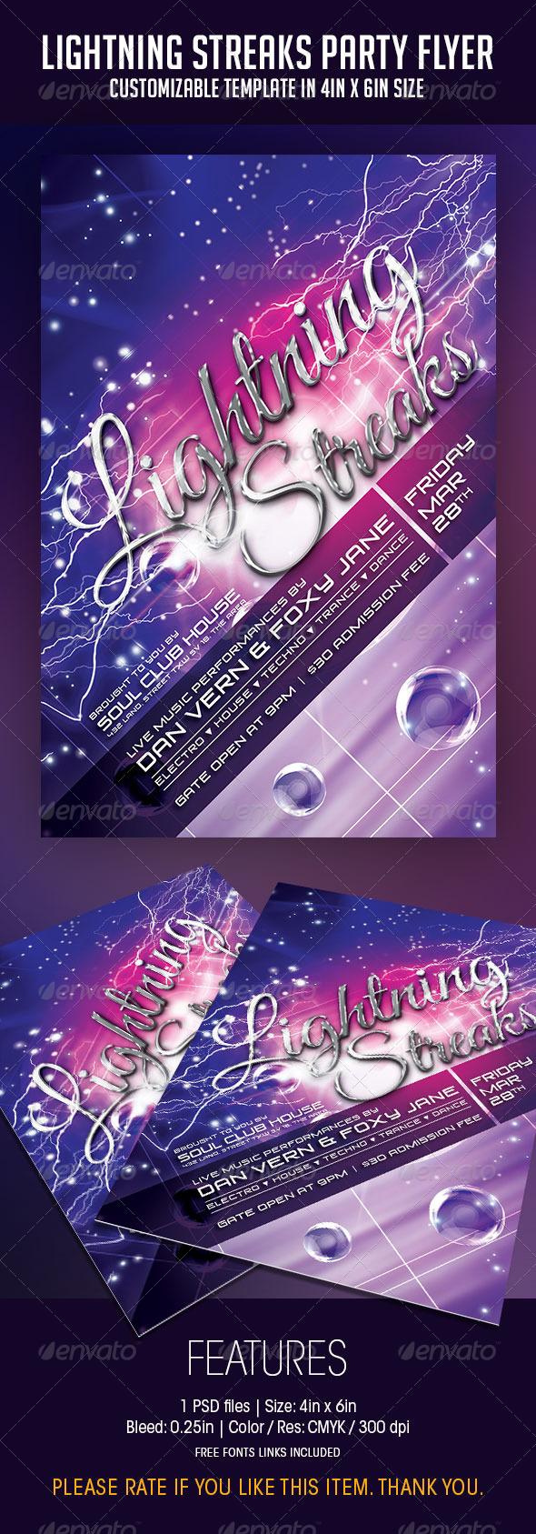 lightning link template - print template graphicriver lightning streaks party