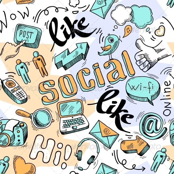Seamless Doodle Social Media Pattern Background ...