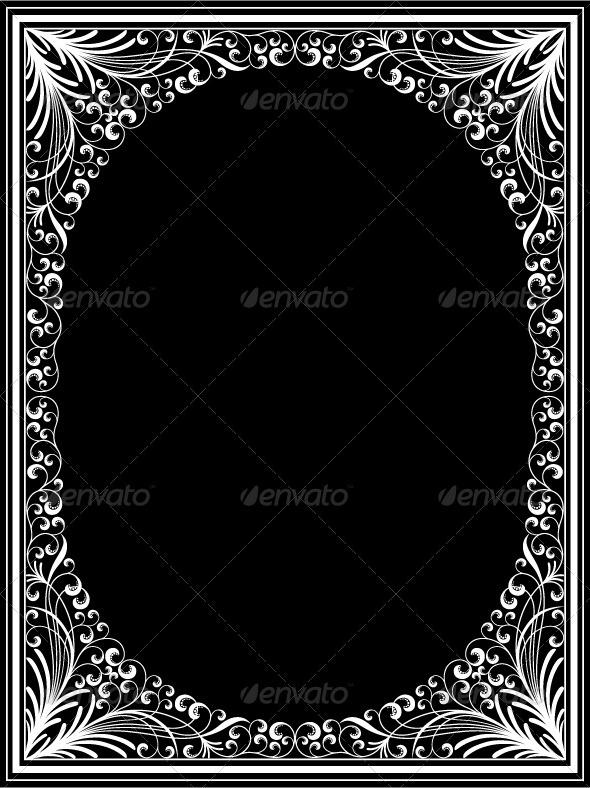 Graphic River Vintage floral frame Vectors -  Decorative  Borders 712508