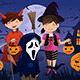 Kids Dressed Up in Costumes Trick or Treating - GraphicRiver Item for Sale