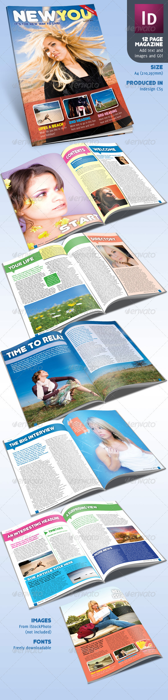 Graphic River 12 Page Magazine inDesign A4 Lifestyle Print Templates -  Magazines 719328