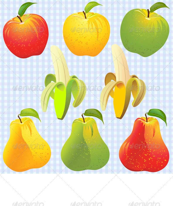 Graphic River Vector Fruits Apple Pear Banana Vectors -  Objects  Food 719351