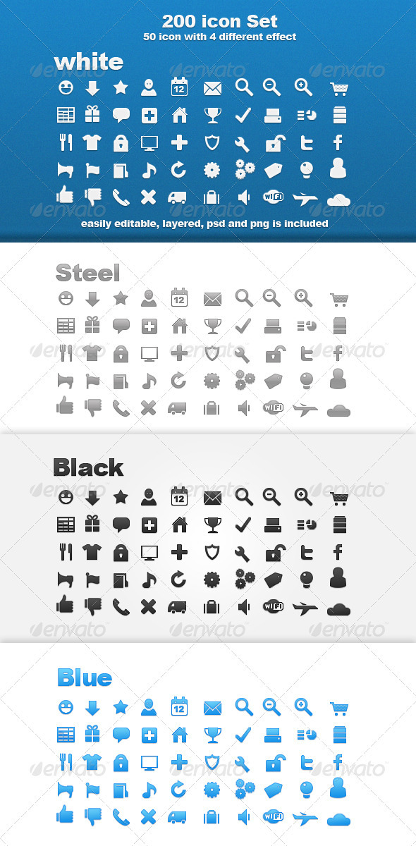 Graphic River 200 Icon Set Whit 4 Different Effect  Icons -  Web 719558