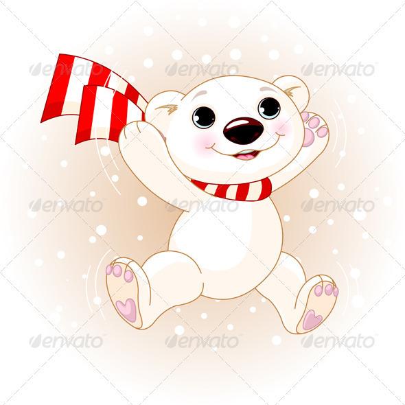 Graphic River Cute Polar Bear jumping Vectors -  Characters  Animals 720332