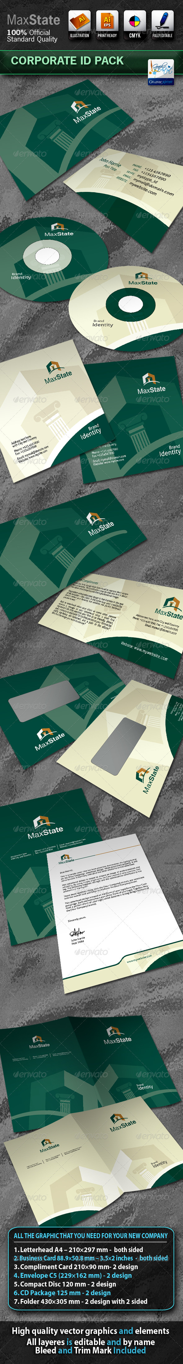 Graphic River MaxState Business Corporate ID Pack With Logo Print Templates -  Stationery 720434