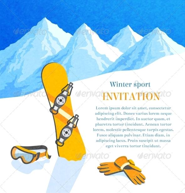 GraphicRiver Snowboard Winter Invitation 6889654