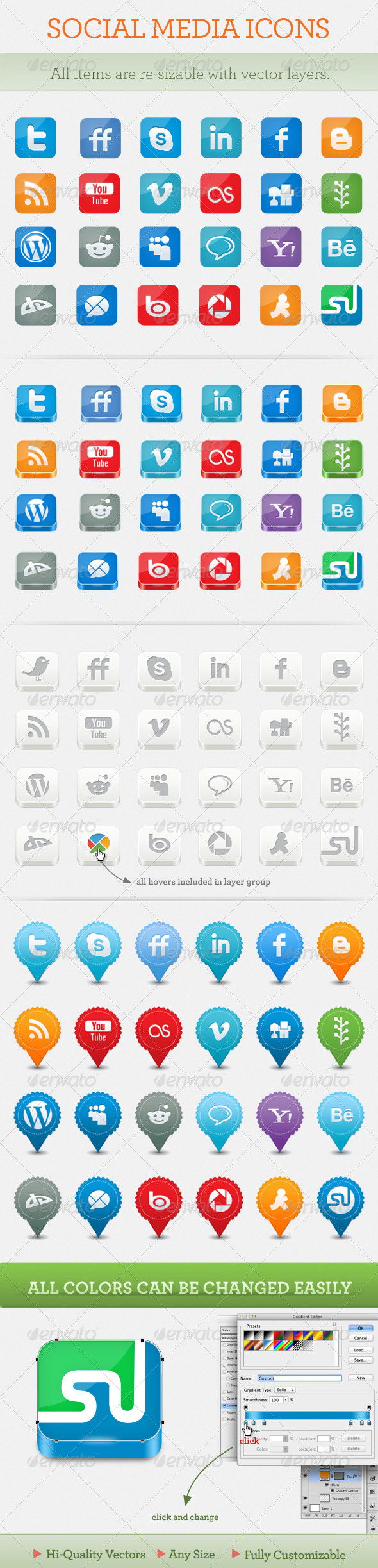 Graphic River Social Network Icon Set Icons -  Web 721419
