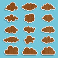 wooden clouds collection on a blue background - PhotoDune Item for Sale