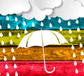 clouds with white umbrella and rain drops on a Colorful Wooden P - PhotoDune Item for Sale