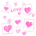 set of Valentines Day notes with scribbled hearts - PhotoDune Item for Sale