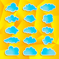 blue clouds collection on the yellow abstract geometrical backgr - PhotoDune Item for Sale