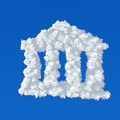 Clouds in shape of bank icon on a blue background - PhotoDune Item for Sale