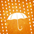 white umbrella and rain drops on abstract modern triangular oran - PhotoDune Item for Sale