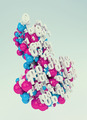 multicolored download arrow made of spheres and numbers - PhotoDune Item for Sale