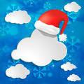 Abstract christmas background with snowflakes, clouds and Red Sa - PhotoDune Item for Sale