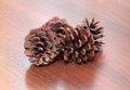 Fir cones on wooden desk - PhotoDune Item for Sale