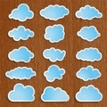 blue clouds collection on a wooden background - PhotoDune Item for Sale