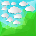 white clouds on a Natural green abstract Triangle Polygonal Back - PhotoDune Item for Sale