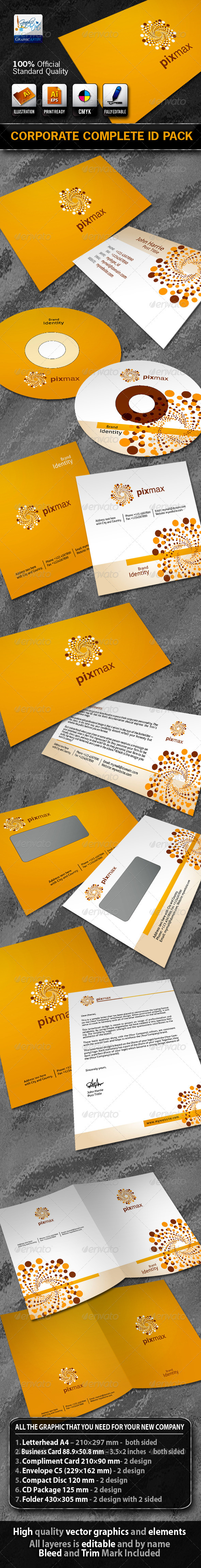 Graphic River PixMax Business Corporate ID Pack With Logo Print Templates -  Stationery 721922