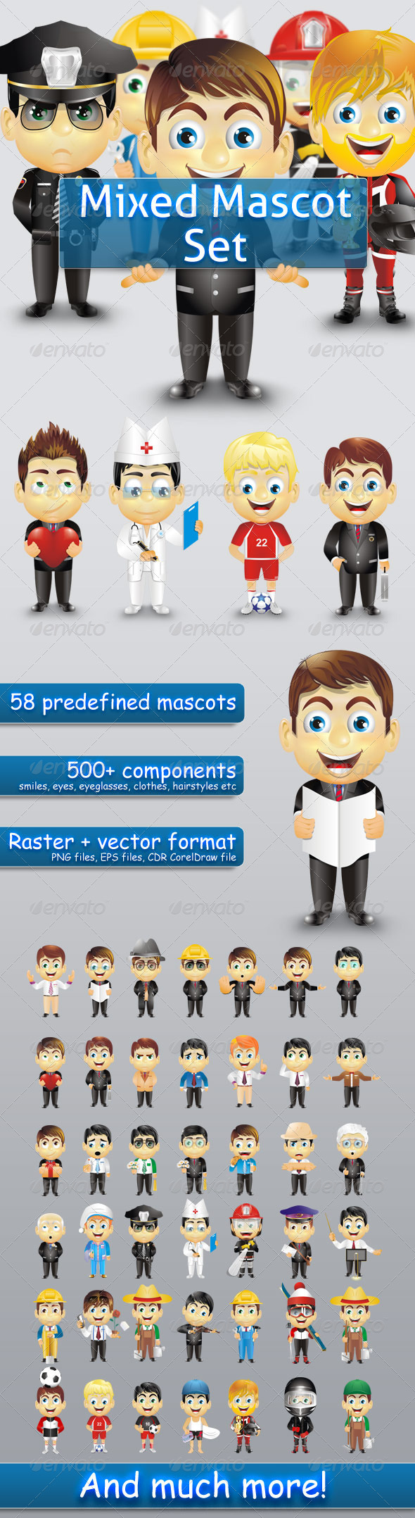 GraphicRiver Mixed Mascot Set 721962