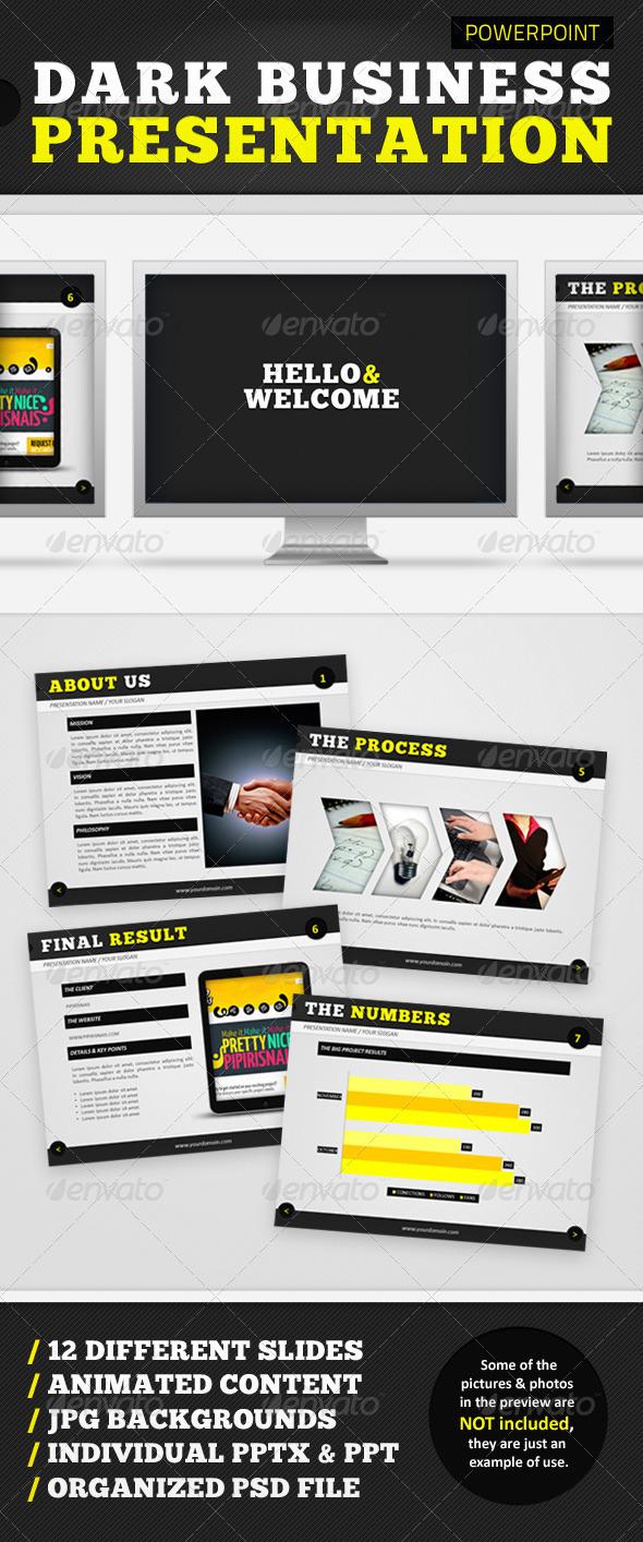 Graphic River Dark Business Presentation Presentation Templates -  Powerpoint Templates 723262
