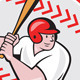 Baseball Player Batting Ball Cartoon - GraphicRiver Item for Sale