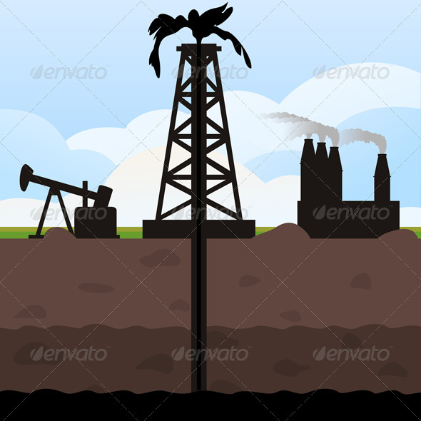 Graphic River Oil recovery Vectors -  Conceptual  Business  Industries 724677