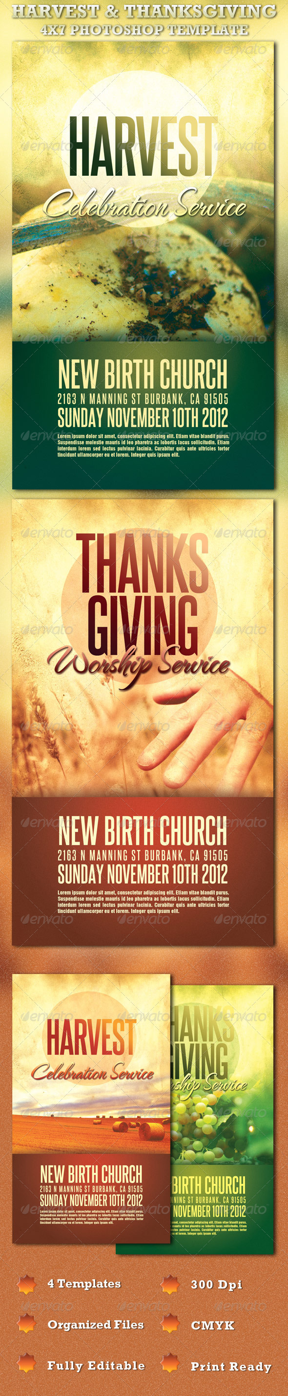 Graphic River Harvest and Thanksgiving Service Template Print Templates -  Flyers  Church 726074