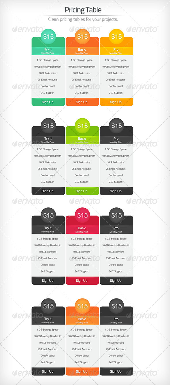 Professional Pricing Table - Tables Web Elements
