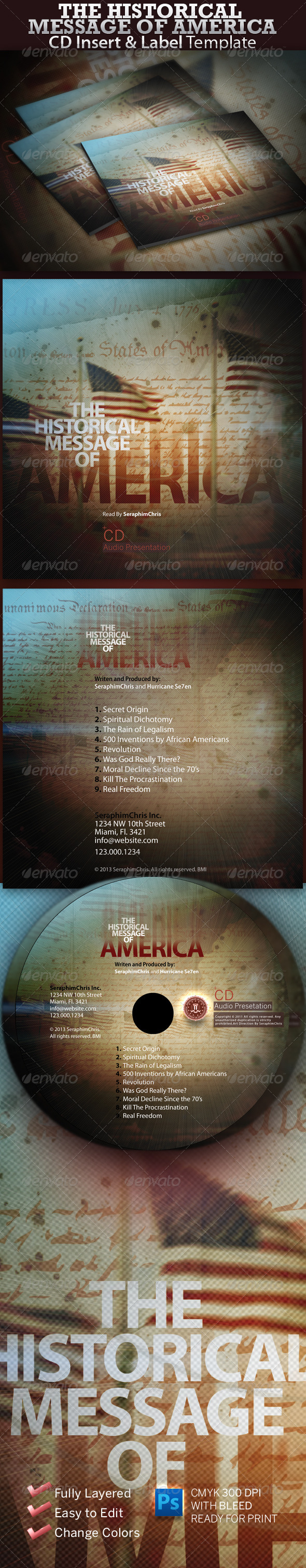 Graphic River The Historical Message of America CD Insert Print Templates -  CD & DVD artwork 726424