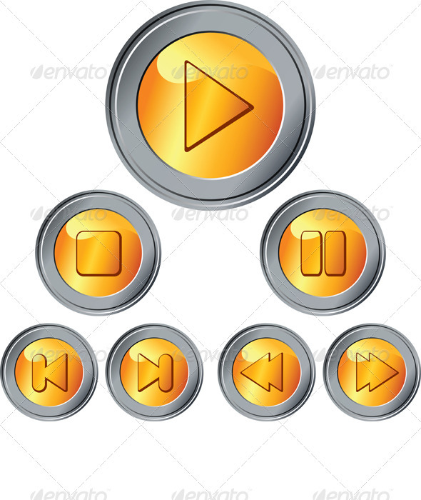 Graphic River Vector Set of Gold and Silver Button Vectors -  Objects  Man-made objects 726635