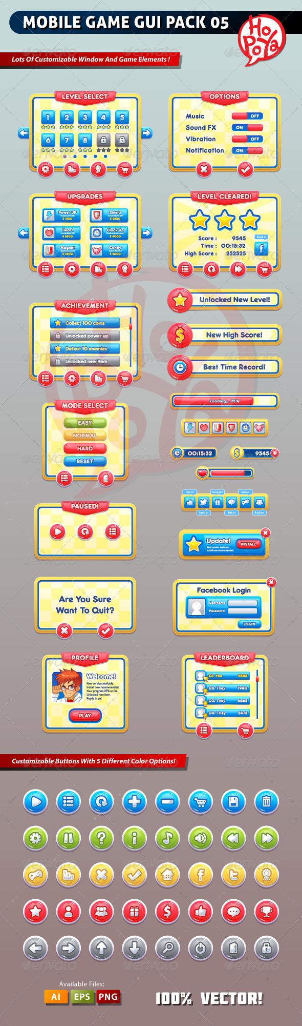 KeMotaku: Mobile Game GUI Pack 05