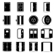 Open and Closed Doors Icons - GraphicRiver Item for Sale