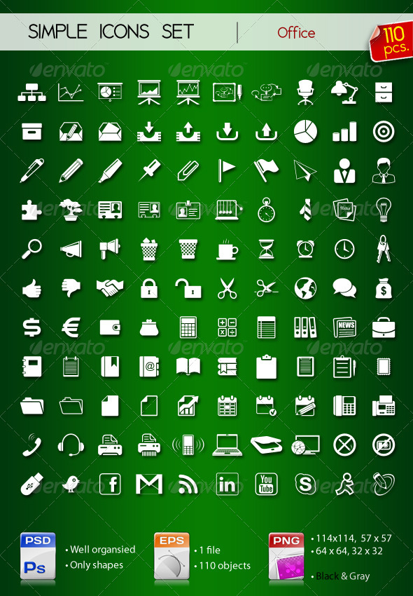 Graphic River 110 Simple Icons ? OFFICE ? Icons -  Web 729560