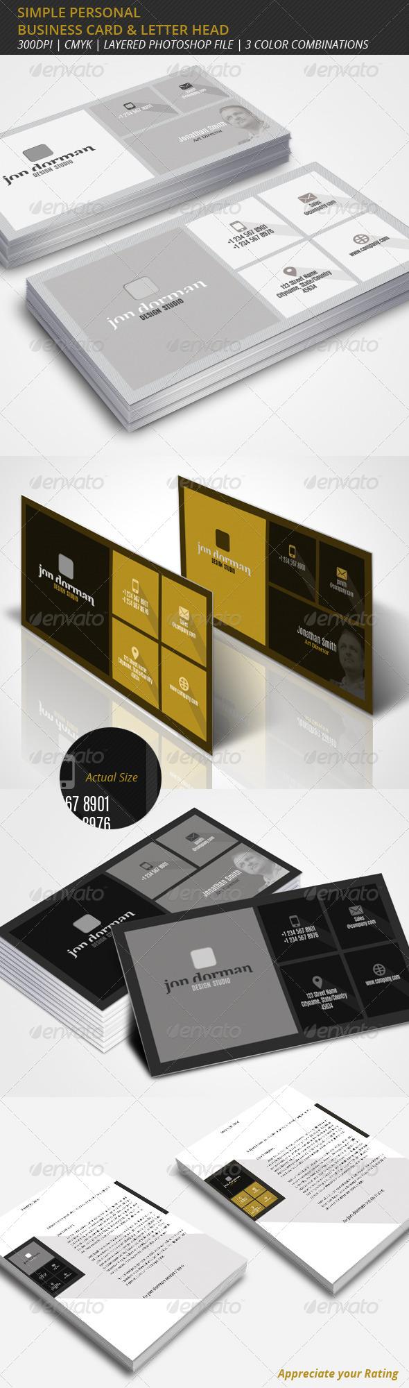 GraphicRiver Simple Professional Business Card & Letterhead 6949825