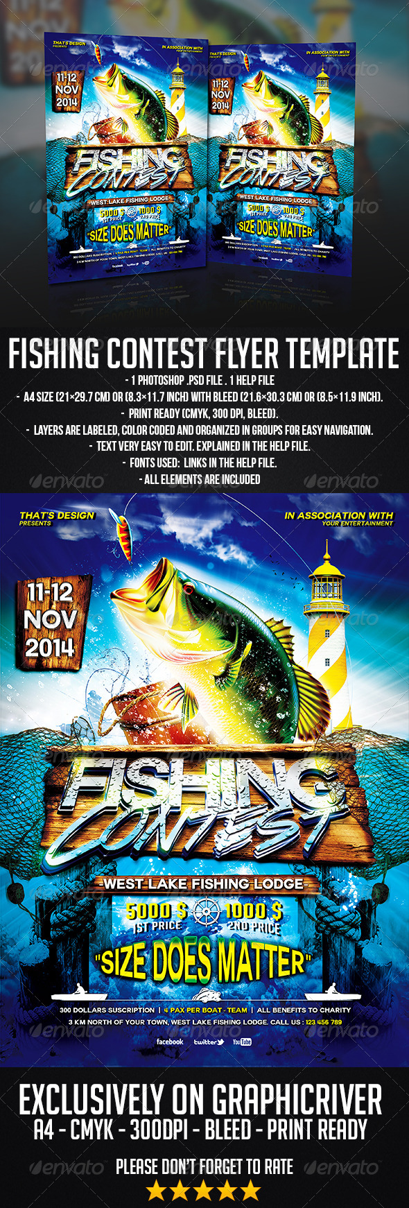 GraphicRiver Fishing Contest Flyer Template 6977348