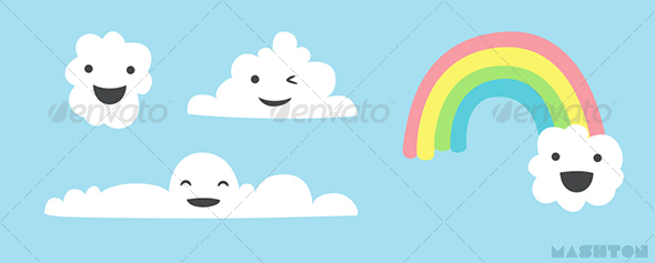 GraphicRiver Assorted Stylized Happy Cartoon Cloud Characters with Rainbow 28738