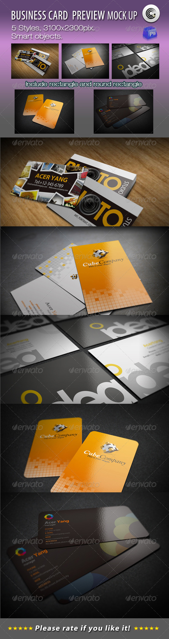 GraphicRiver 5 Styles Business Card Preview Mock-ups 731818