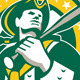 American Patriot Baseball Player Green Gold Retro - GraphicRiver Item for Sale