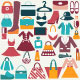 Clothes and Accessories Flat Vintage Set - GraphicRiver Item for Sale