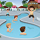 Kids Playing in an Outdoor Swimming Pool - GraphicRiver Item for Sale