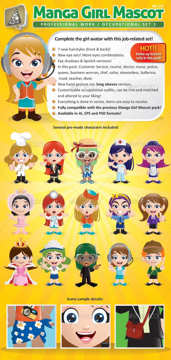 GraphicRiver Manga Girl Mascot Creation Kit Occupational Set 737620