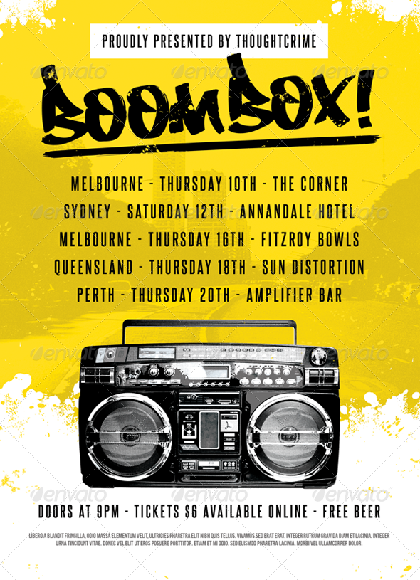 Graphic River Boombox! Flyer Template Print Templates -  Flyers  Events  Clubs & Parties 739146