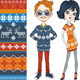 Fashion Hipster Boy and Girl in Knitted Sweaters - GraphicRiver Item for Sale