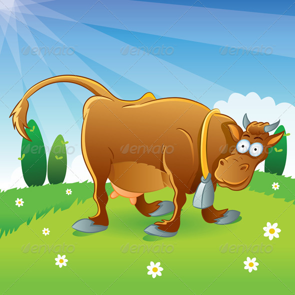 Graphic River Cow Illustration Cartoon Vectors -  Characters  Animals 733214