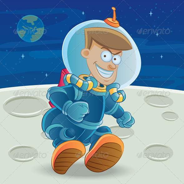 Graphic River Astronaut at The Moon Vectors -  Characters  People 732012