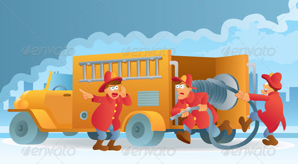 Graphic River Fireman in Action Vectors -  Characters  People 734193