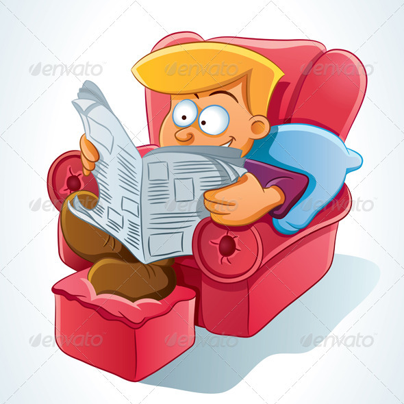 Graphic River Man Reading Newspaper Vectors -  Characters  People 735325
