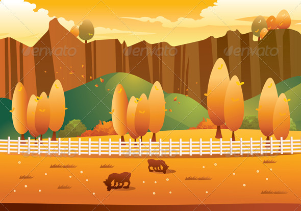 Graphic River Autumn Landscape Vectors -  Conceptual  Nature  Seasons 732251