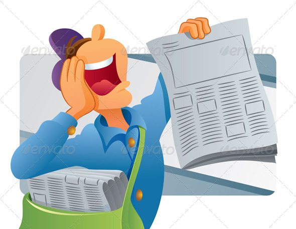 Graphic River Paperboy Selling Newspaper Vectors -  Characters  People 739225
